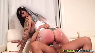 tattooed bride gives head