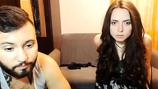 Buxom brunette camgirl blows a hard dick and gets spanked