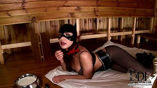 Kitten Slavegirl Laps Up Milk