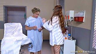 Devastatingly sexy redheaded doctor fucks her horny patient