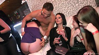 Beautiful chicks get their wet pussies banged at the party