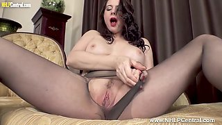 Big Boobs Milf Plays With Big Cock Big Toy In Nylon Pantyhose - Karina Currie And Dildo Masturbation