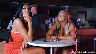 ready for the lifetime orgasm Ava Koxxx spreads her legs in the bar