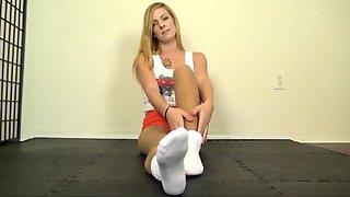 Tan pantyhose footjob 24