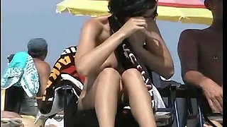 Public nudity scene with naked sexy brunette MILF