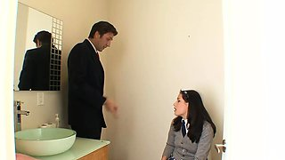 Horny schoolgirl fucked in the toilet