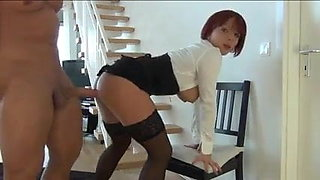 Hot German cuckold bobbed red hair JolyneJoy fucks other man