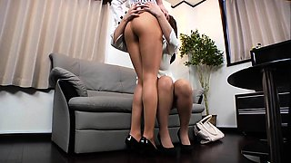 Sexy Japanese ladies in pantyhose enjoy a lesbian romance