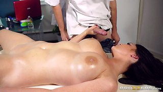 Sexy oiled brunette Emma Leigh gets her pussy fucked remarcably well