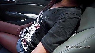 Stranded ebony teen fucks white dick in car