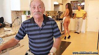 Brunette babe maid is serving naked and gives those older men an boner