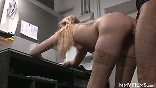 Light haired titless secretary Kitty Blair gives blowjob in the office