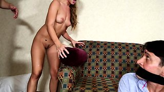 She caught him cheating so ties him up and gets drilled by his friend