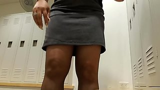 Sexy Black Mature Nylon Feed