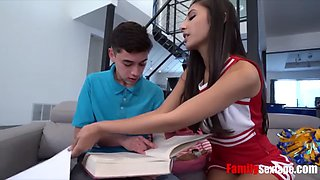Cheerleader fucks her shy brother