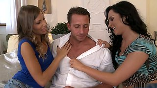 Fabulous pornstars Bettina Di Capri and Avril Sun in amazing creampie, swallow porn scene
