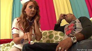 milf nurse janet mason savoring a big black cock in interracial video