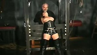 Hannah in bondage corset