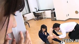 Handsome oriental schoolgirl strips stripped and gets fisted