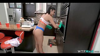Filming sexy maid clean the kitchen