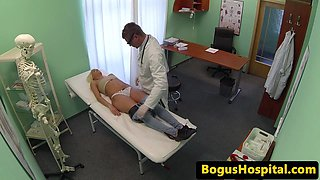 Wonderful patient jizzed on pussy by dr