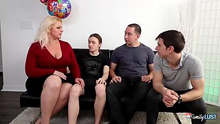 Chubby blonde woman with big tits, Selah Rain is having group sex during her birthday party
