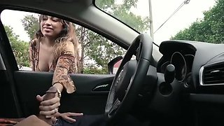Busty Latina Gives A Guy Handjob Through Car Window In Public