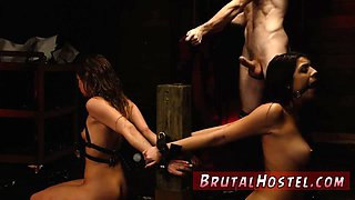 Extreme hard fast fuck and rough brutal anal Two youthful sluts Sydney Cole and Olivia