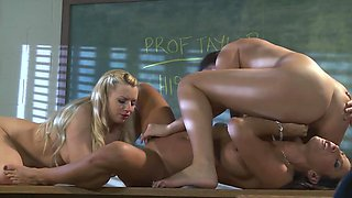 Horny teacher and her naughty teen students play with pussies
