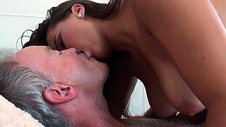 Grandpa Fucks Teen 18years old tight pussy in bedroom