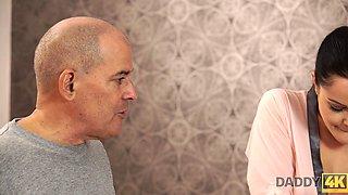 DADDY4K. Hot brunette revenges on boyfriend by seducing his bald dad