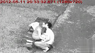 Blonde amateur girl gives her horny guy a nice handjob in the park