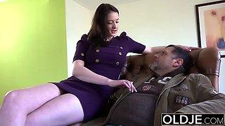 Old Young Amazing BIG TITS girl fucks old man hardcore sex