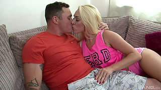 Tattooed guy lets the sexy blonde impale herself on his dong