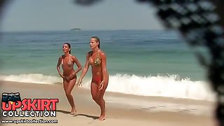 Sexy babes in tiny bikinis get spied on hidden camera when