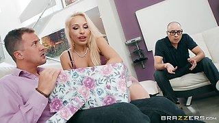 Carmen in stockings giving monster cock stunning blowjob