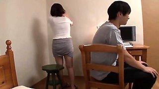 Japanese young man cant resist tutors big soft tits
