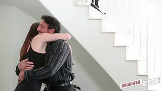 Sex-hungry daddy fucks sexy girlfriend of his step daughter