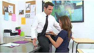Beautiful brunette student gives deepthroat blowjob to her teacher