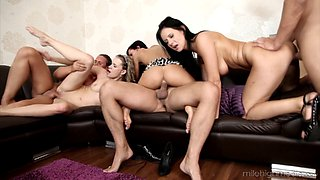 Swinger couples swap spouses in a thrilling foursome action