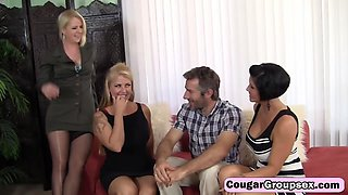 Lucky stud has a fabulous adventure with three slutty cougars