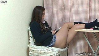 Upskirt the Japanese Schoolgirl Miniskirt from Under Desk