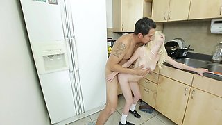 Tattooed young man knows how to satisfy this raunchy blonde slut