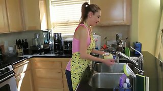 Kitchen striptease and masturbation with Betty Blaze