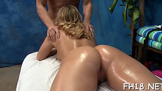 Oiled up blonde gal needs a hard meat pole