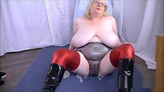 Mature Sally black pvc panties