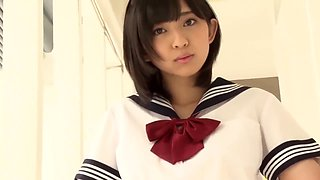 Japanese schoolgirl in lovely white cotton panties