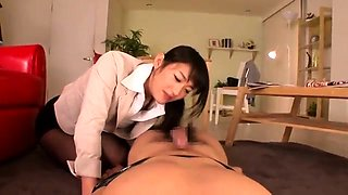 Slender Japanese doctor takes a POV cock in her hairy peach