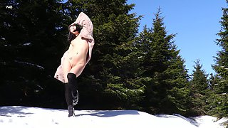 Rather flexible Czech hottie Lady Dee strips and masturbates in snowy woods