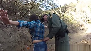 Anime police and fake cop blonde milf Mexican border patrol agent has his